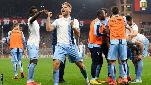 Ciro Immobile celebrates Lazio's win at Genoa