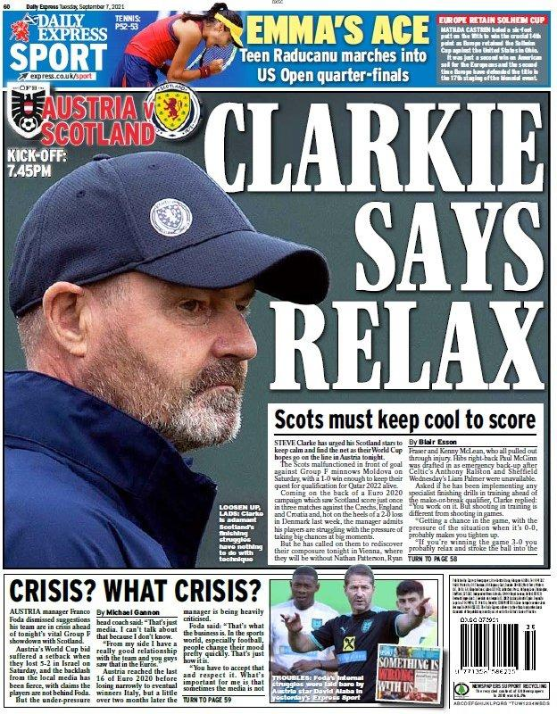 The back page of the Scottish Daily Express on 070921