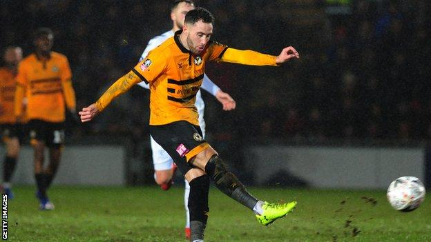 Robbie Willmott scores for Newport against Middlesbrough