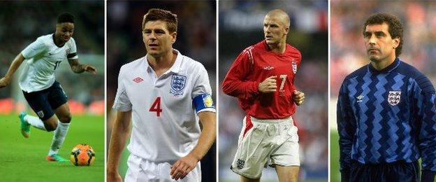 Raheem Sterling, Steven Gerrard, David Beckham and Peter Shilton