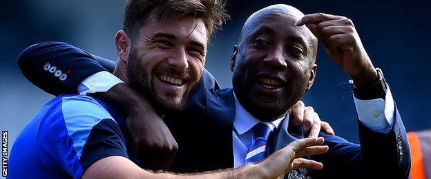 QPR striker Charlie Austin and manager Chris Ramsey