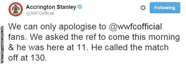 Accrington Stanley tweet