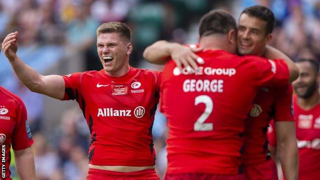 Saracens players celebrate