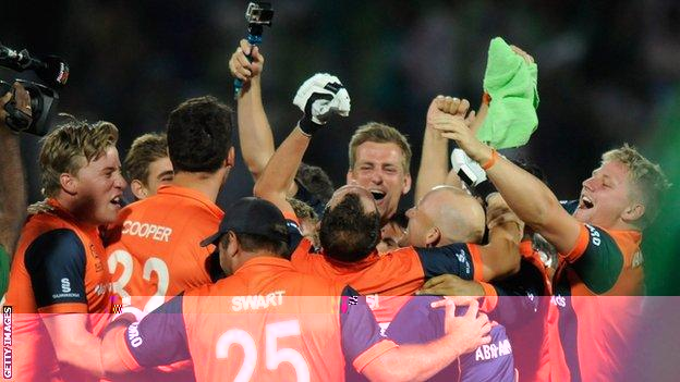The Netherlands celebrate their remarkable win over Ireland in Bangladesh seven years ago