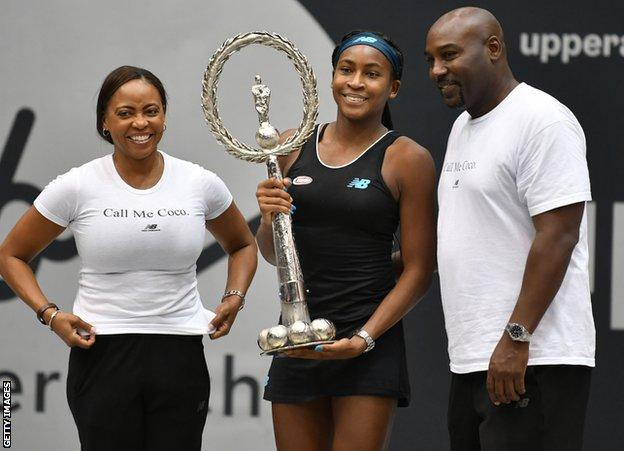 Coco Gauff with mum Candy and dad Corey
