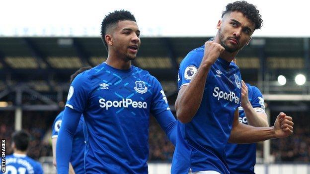 Dominic Calvert-Lewin celebrates scoring Everton's opening goal
