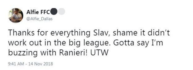 Reaction from Fulham fan: thanks for everything Slav
