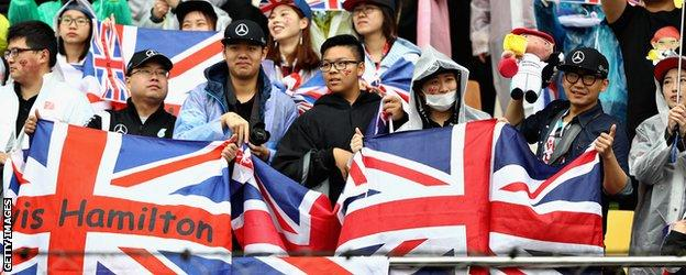 Lewis Hamilton fans at the Chinese Grand Prix