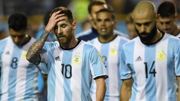 48ce900ef World Cup 2018  Lionel Messi s Argentina in danger of missing Russia  tournament - BBC Sport