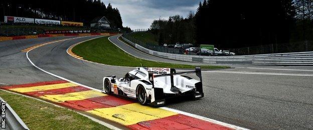 Mark Webber in his Porsche at Spa