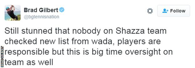 Brad Gilbert tweet about Maria Sharapova