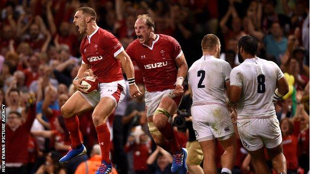 George North scores against England in 2019 with Alun Wyn Jones celebrating
