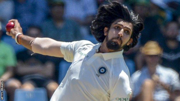 Ishant Sharma bowls for India during the second Test against South Africa in Pretoria in January