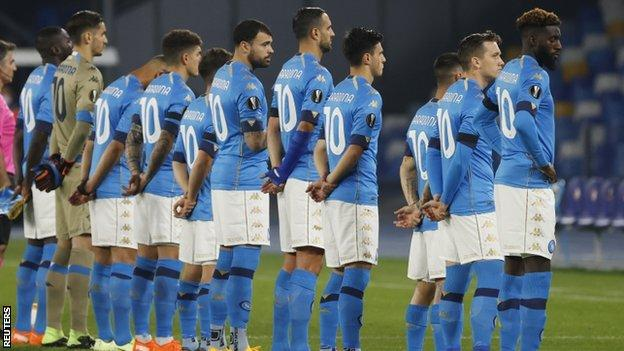 Napoli players wearing shirts with 'Maradona 10' on the back before their Europa League match with Rijeka