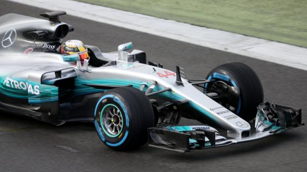 af9f655077f Lewis Hamilton  Mercedes s new car given debut at Silverstone - BBC Sport