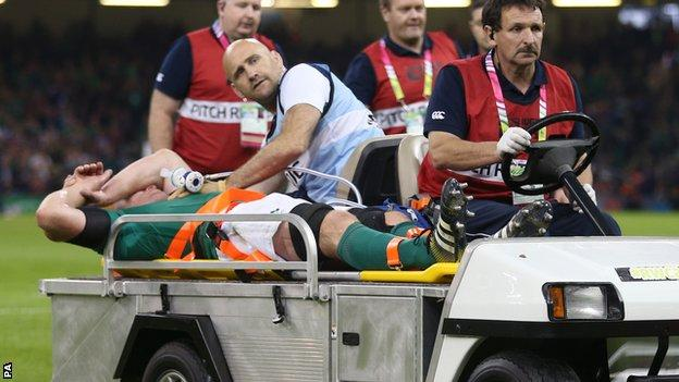 "Ireland""s Paul O'Connell is stretchered off"