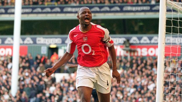 Patrick Vieira scores for Arsenal against Tottenham in the Premier League in 2004
