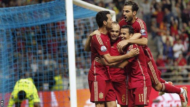 Spain celebrate a goal against Slovakia