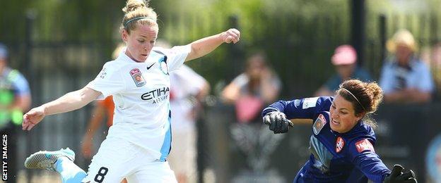 Kim Little scores for Melbourne City against Brisbane Roar in the W-League