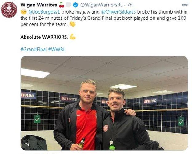 Wigan Warriors' tweet on Burgess and Gildart