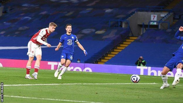 BPL Report (2021): Smith Rowe benefits from Jorginho error as Arsenal win at Chelsea