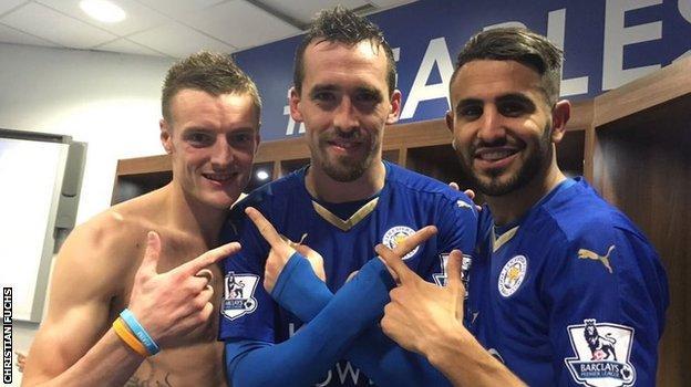 Christian Fuchs with Leicester team-mates Jamie Vardy and Riyad Mahrez
