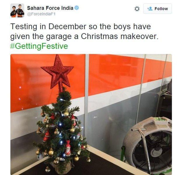 Sahara Force India's Christmas tree