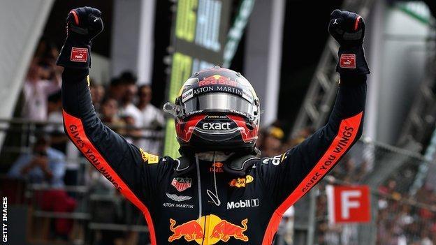 Max Verstappen celebrating