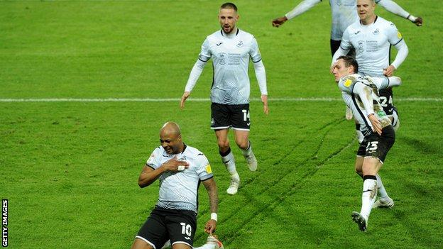 Andre Ayew celebrates his first goal in six matches