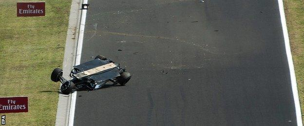 Sergio Perez crashed during the first practice session of the Hungarian Grand Prix