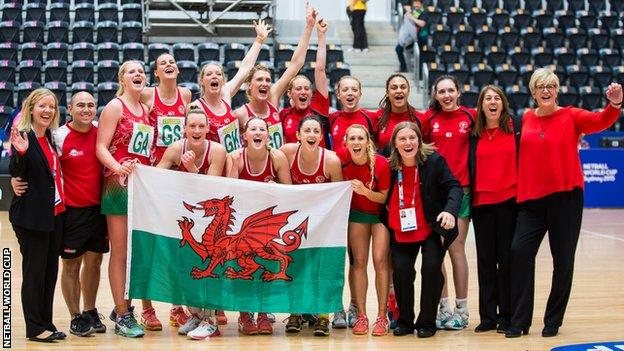 Wales celebrate their seventh place at the Netball World Cup