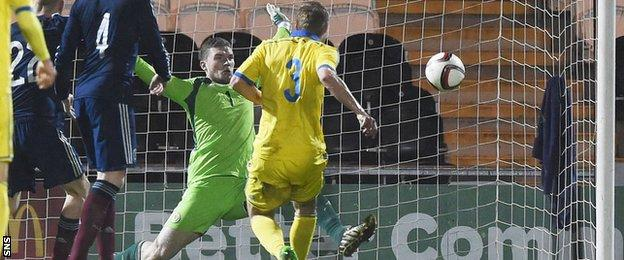 Oleksandr Svatok scores for Ukraine Under-21s against Scotland
