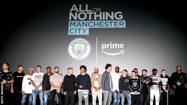 Manchester City's players at the launch of the club's documentary 'All or nothing'
