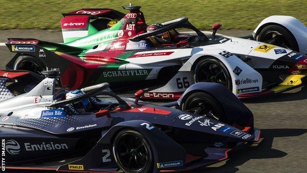 Formula E cars during pre-season testing in Valencia