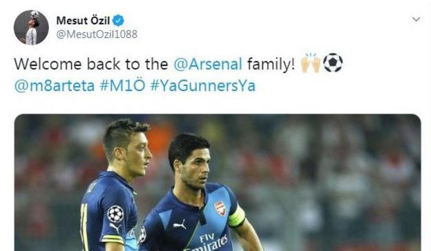 Mesut Ozil welcomes Mikel Arteta to Arsenal