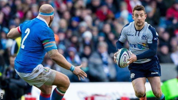 Greig Laidlaw in action for Scotland against Italy in the 2019 Six Nations