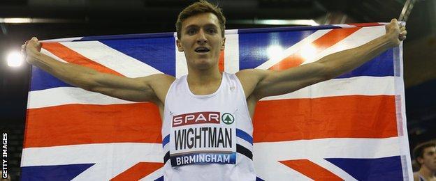 Jake Wightman celebrates his 1500m Oslo Diamond League win