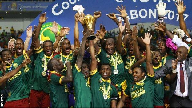 Cameroon's players celebrate winning the 2017 Africa Cup of Nations