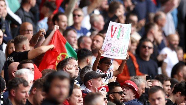 Portugal flags and 'Viva Ronaldo' signs were seen in the crowd