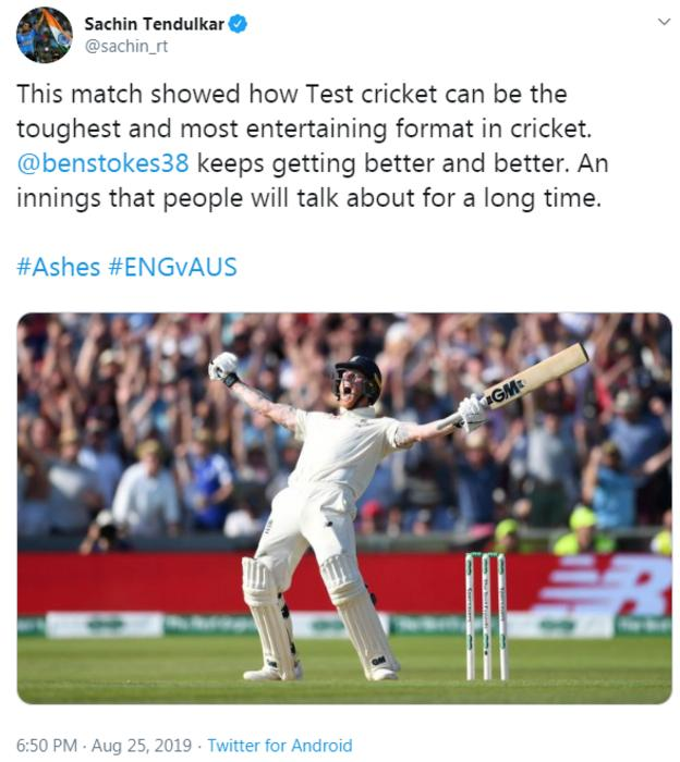 Tweet from Sachin Tendulkar congratulating Ben Stokes