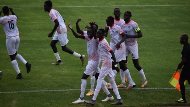South Sudan's players celebrate their goal against Uganda
