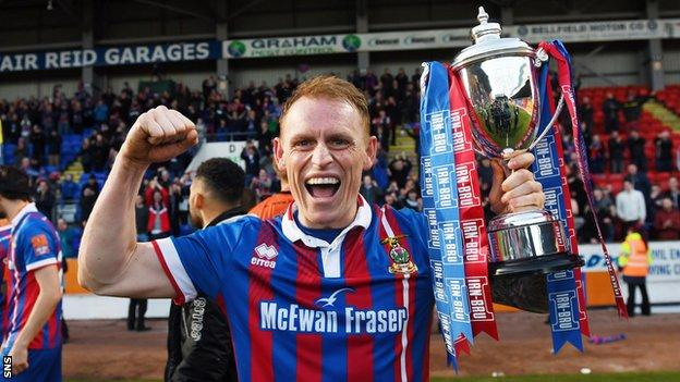 Carl Tremarco with the Scottish Challenge Cup