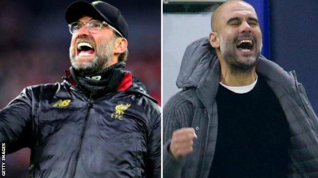 Liverpool manager Jurgen Klopp and Manchester City boss Pep Guardiola
