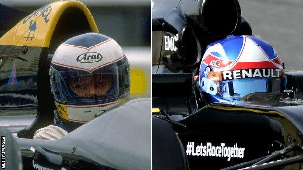 Jonathan Palmer during the 1980s and his son Jolyon Palmer today