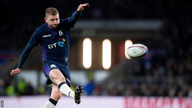 Finn Russell knocks over a conversion for Scotland against England in 2019