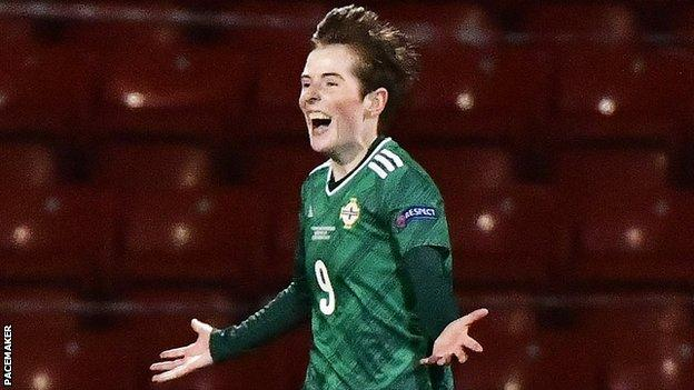 Kirsty McGuinness celebrates after putting Northern Ireland 2-1 up at Seaview