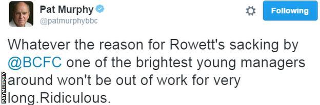 Pat Murphy Tweet on Gary Rowett departure