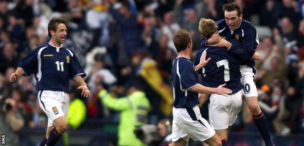James McFadden celebrates