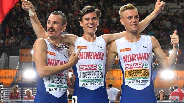Henrik (left) Jakob (centre) and Filip (right) Ingebrigtsen celebrate after the men's 1500m final at the European Athletics Championships in 2018