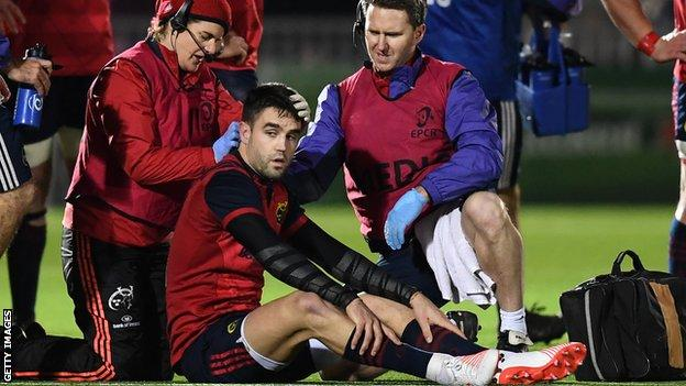 Conor Murray receives treatment during Munster's Champions Cup game at Glasgow in January 2017